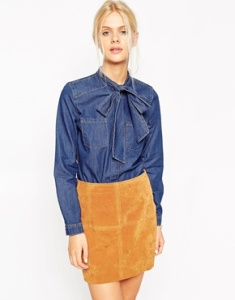 denim bow shirt asos