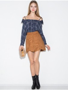 off shoulder plaid pixie market